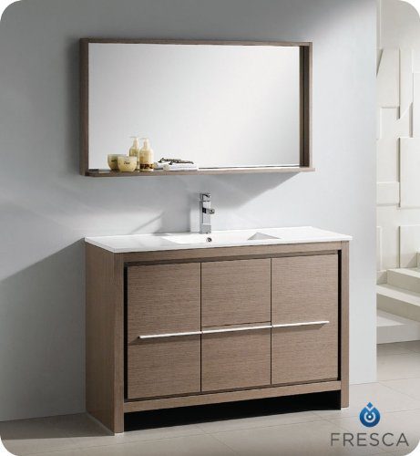Fresca FVN8148GO Allier 48 Gray Oak Modern Bathroom Vanity w/ Mirror