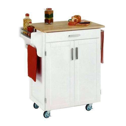 Cheap Home Styles Small Kitchen Cart With Wood Top – Natural/White – 9001-0021 (B0060LZWVK)