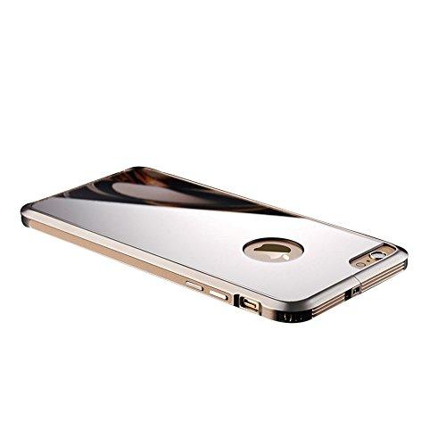 全8色 iphone6sバンパー アルミ 背面 軽量 ポップエナジー(Pop Energy)アイフォン6s plus ケース 金属 フレーム 二重構造 アルミバンパー+鏡面ミラーキラキラ光るバックプレート付き アルミ製メタルバンパー(iphone6/6s plus, ゴールド)