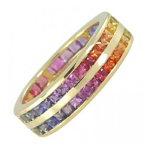 Rainbow Sapphire Double Row Eternity Ring 18K Yellow Gold (6ct tw)