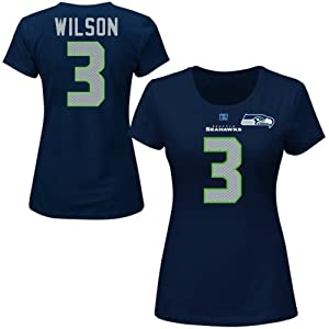 NFL Seattle Seahawks Russell Wilson Ladies Short Sleeve Crew Neck Tee, Navy, X-Large by Majestic