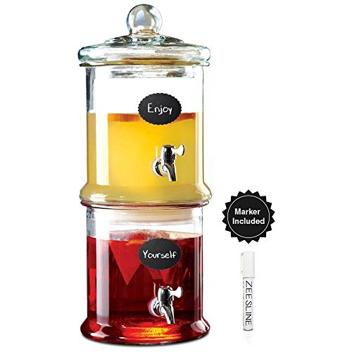 glass-stackable-double-beverage-dispenser-with-lid-for-lemonade-or-iced-tea-centerpiece-1-gallon-eac