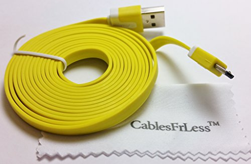 Cablesfrless 6Ft Tangle Free Noodle Style Micro Usb Charging / Data Sync Cable Fits Most Android Devices (Yellow)