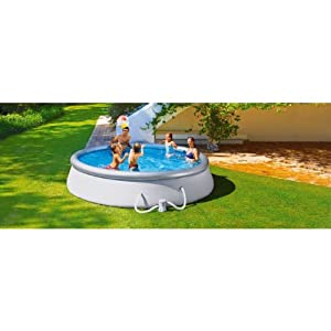 Hsb bundle 10 foot quick up pool set and cover silver for Quick up pool obi