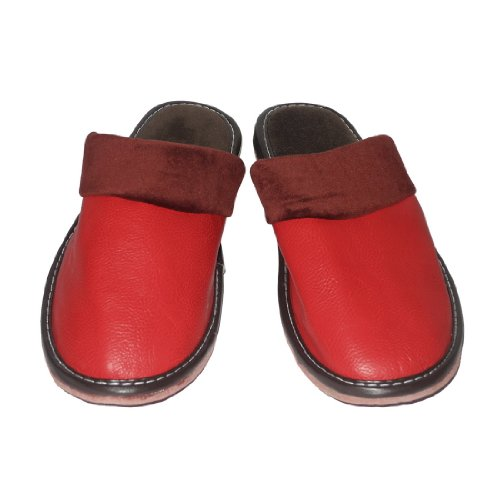 Image of Womens Open Back Lounge / House Slippers with Leather Toe and Suede Sole - Red (B006JXZI6S)