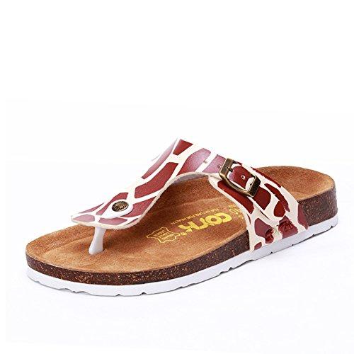 pantoufles en liège/Chaussons de plage femmes/Sandales plates occasionnels