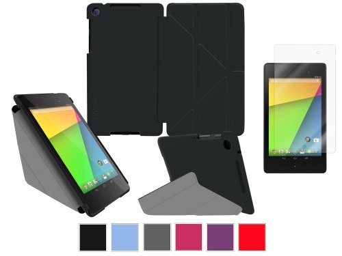 rooCASE Google Nexus 7 FHD Case – Slim Shell Origami Cover with Ultra HD Plus Anti-Fingerprint / Self-Healing / Bubble Free Screen Protector – BLACK (With Auto Wake / Sleep Cover)