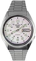 Seiko snx801k 1-5 Gent's Automatic Watch Analogue Watch-White Face-Grey Steel Bracelet