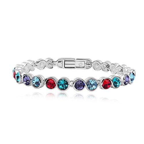 Dreamslink Fashion Jewellery 18K White Gold Plated Tennis Bracelet Multicolor Swarovski Elements Austria Crystal Round Crystal Bracelet 94025