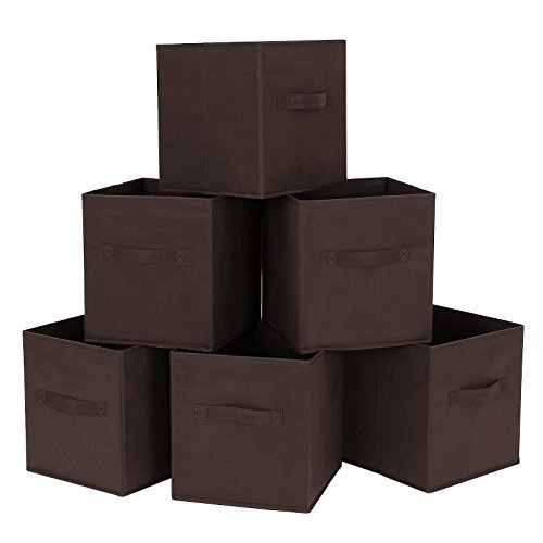 SONGMICS Set of 6 Foldable Storage Cube Fabric Drawer Basket Bin Closet Organizer Dark Brown UROB26K (Foldable Drawer Storage Unit compare prices)