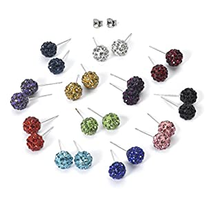 12 Colors Set Shamballa Rhinestones Crystal Fireball Stud Earrings Stainless Steel, Hypoallergenic