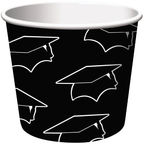 Creative Converting 6 Count Graduation Treat Cups, Black
