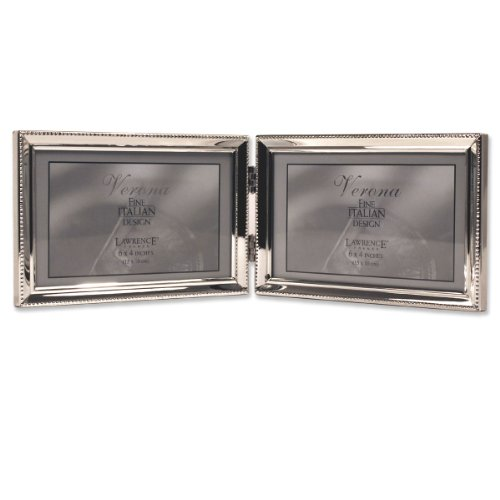 lawrence frames polished silver plate 4x6 hinged double horizontal picture frame bead border. Black Bedroom Furniture Sets. Home Design Ideas