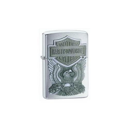 Zippo Harley Davidson Eagle/Logo Emblem Lighter (Silver, 5 1/2 x 3 1/2 cm)