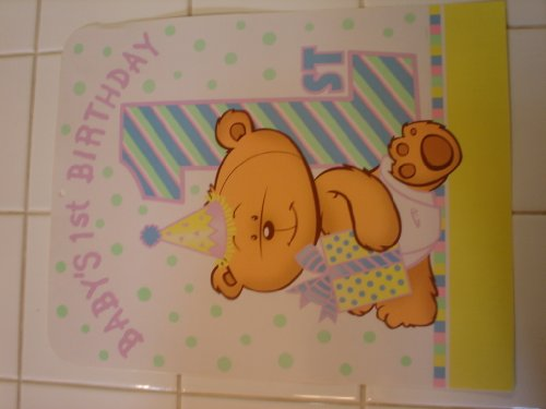 Baby's First 1st Birthday Party Decoration Sign Banner Teddy Bear 12.25in x 15in