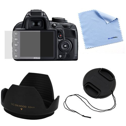 For Nikon Digital SLR D3100 Accessories Kit : 52mm Flower Lens Hood + 52mm Camera Snap on Lens Cap with Strap + LCD Screen Protector + Microfiber Cleaning Cloth By GTMax