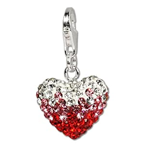 SilberDream Glitter Charm Swarowski Elements heart red ICE , 925 Sterling Silver Charms Pendant with Lobster Clasp for Charms Bracelet, Necklace or Earring GSC002