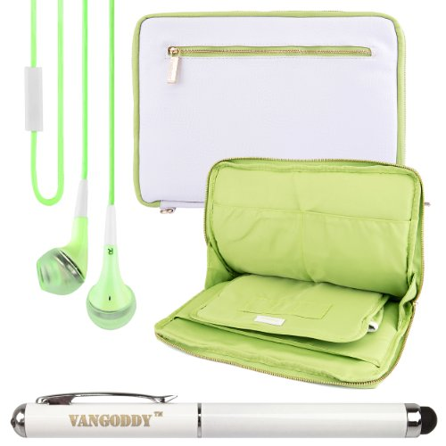 Premium Leather Protecitve Sleeve Bag Case For Samsung Galaxy Tab 4 8.0 / Tab Pro 8.4 / Note 8.0 Inch Tablets + Laser Stylus Pen + Green Headphones (White & Green)