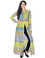 Yogalz Women Light Green Color Georgette Kuri Ladies Casual Wear Party Wear Kurta
