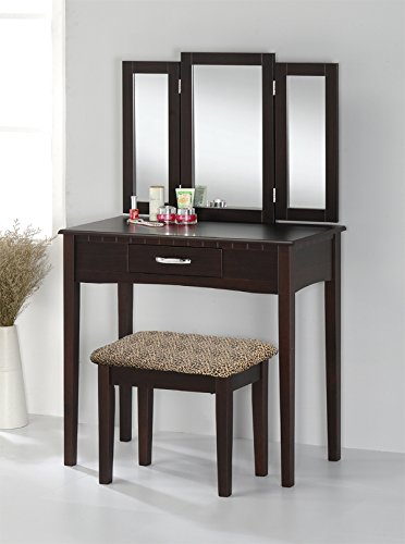 Pleasing Contemporary Vanity Set With Tri Fold Mirror And Leopard Cjindustries Chair Design For Home Cjindustriesco