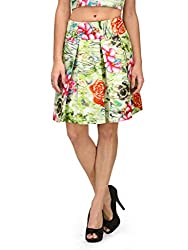 Xoxo Green Floral Short Pleated Skirt