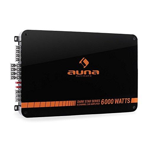 Auna Dark Star 6000 Amplificatore auto finale Hi-Fi car 6 canali (600 Watt RMS, Ponticellabile, Filtro passa basso e crossover regolabili)