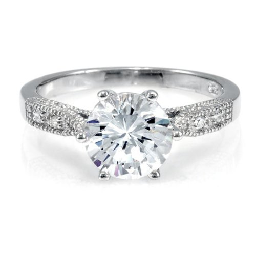 Ruth's Promise Ring - Round Cut CZ .925 sterling silver jewelry, Rhodium electroplated Size 9