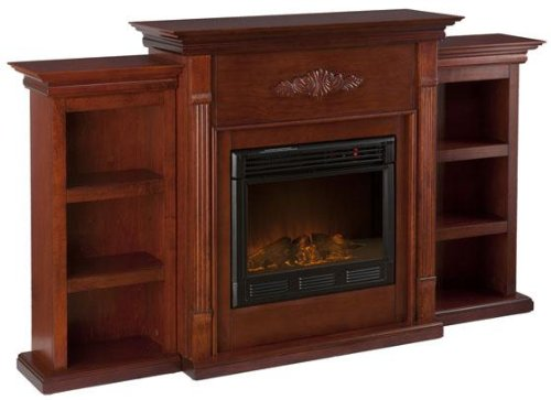 Tabitha Fireplace With Bookcases, Electric Frplce, Mahogany