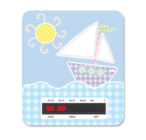 Boat Baby Bath Thermometer Card With New Moving Line Technology - Ensure baby's bath is not too hot or uncomfortably cold.