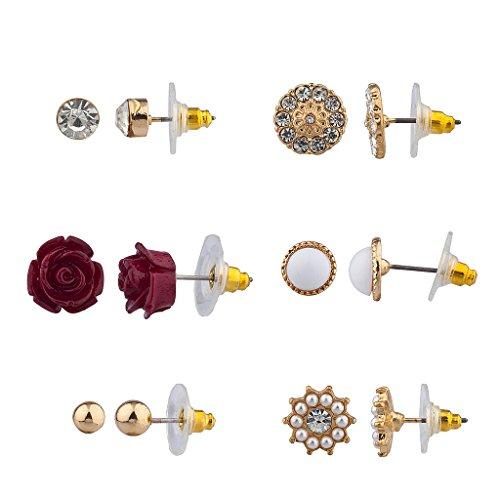 Lux accessori, colore: rosso rosa Pave Disco floreale più orecchini con perla di Faux