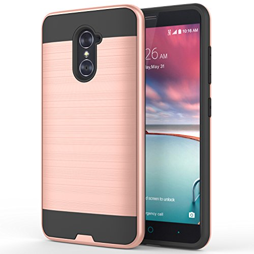 ZTE GRAND X MAX 2 Case, LUXCA® Ares [Slim Fit] [Brushed Metal Texture] Ultimate Protection Hard PC and Soft TPU 2 Layer Cover for ZTE GRAND X MAX 2 (Rose Gold) (Mobile Covers For Grand 2 compare prices)
