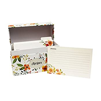 Vintage-Look Recipe Box Set With 50 Recipe Cards & 10 Blank Dividers   Holds Up To 200, 4x6 Cards   From Splendid Chef