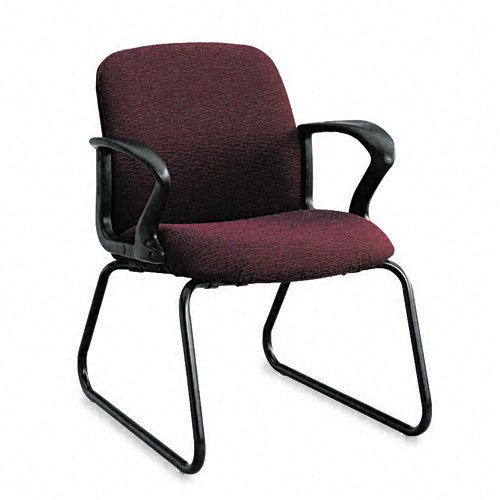 HON Products - HON - Gamut Series Guest Chair, Black Loop Arms/Sled Base, Claret Burgundy Fabric - Sold As 1 Each - Pronounced lumbar support reduces strain on back. - Waterfall seat edge for better leg circulation. - Upholstery is stain-resistant to keep appearances clean and neat. - Sled base moves smoothly on carpet or bare floors. -