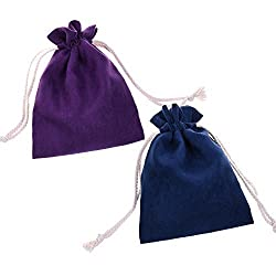 BCP 2-pieces 6 X 8 Inch Luxury Multi-purpose Suede Gift Jewelry /Battery Pack Power Bank/ Headphones/tarot Rune Cards Bag Pouches with Drawstring Closure