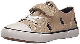 Polo Ralph Lauren Kids Kody Sneaker (Toddler/Little Kid), Khaki/Navy, 7 M US Toddler