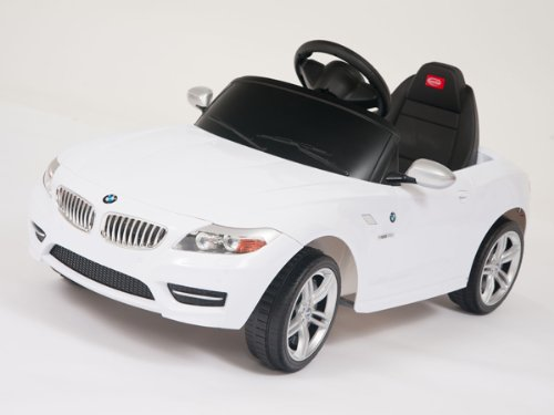Under Bmw Licensed Z4 White Limited Edition Ride On Toy Battery Operated Car For Kids, Remote Control, Key, Lights,Mp3 Connection.
