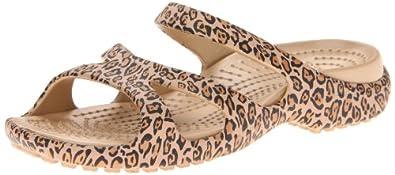 crocs Women's 14716 Meleen Leopard Wedge Sandal,Gold/Black,4 M US