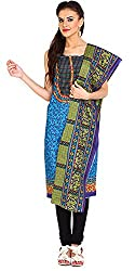 Parchayee Women's Cotton Dress Material (Printed_Blue_Free Size)