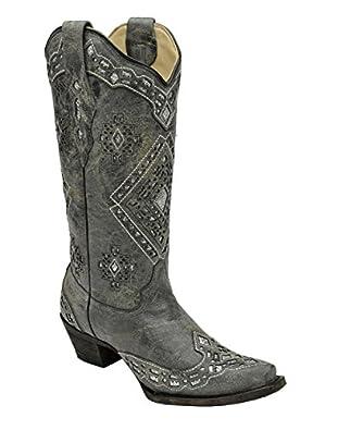 Amazon.com: Corral Ladies Black Glitter Inlay Boot: Shoes
