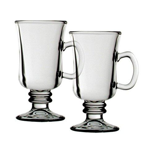I Style Irlandais Tasse à café, en verre, transparent/blanc, lot de 2