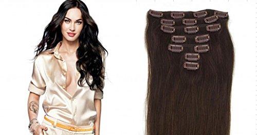 RemyHair Clip-In-Extensions fur komplette Haarverlangerung hochwertiges Remy-Echthaar 38CM 16clips 70g#2 dunkelbraun
