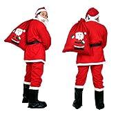 大人用! サンタ コスプレ クリスマス 衣装 上下 帽子 髭 ベルト 大きなプレゼント袋 6点 フルセット 袋の柄 (サンタさん全身)