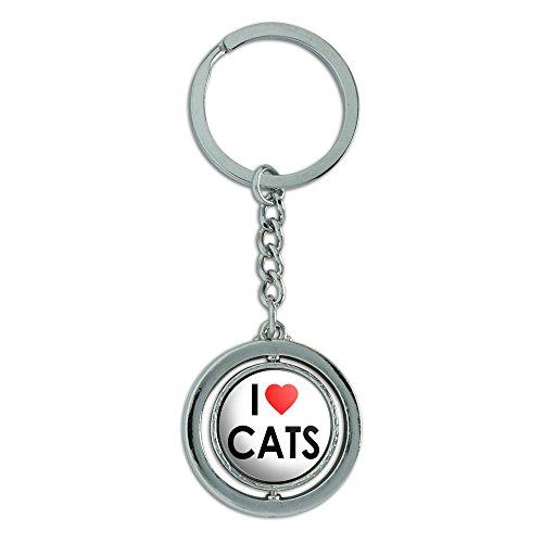 Animal Keychains -I Love Heart Cats Keychain