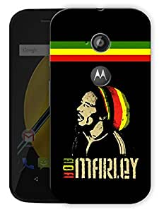 "Bob Marley Rasta Printed Designer Mobile Back Cover For ""Motorola Moto E2"" By Humor Gang (3D, Matte Finish, Premium Quality, Protective Snap On Slim Hard Phone Case, Multi Color)"