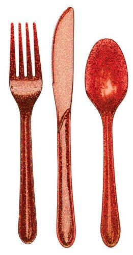Creative Converting Premium Plastic Glitz Red Glitter Cutlery, 24 Utensils Per Package