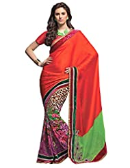 Anvi Creations Digital Printed Embroidered Georgette Pink Orange Saree (Pink_Free Size)