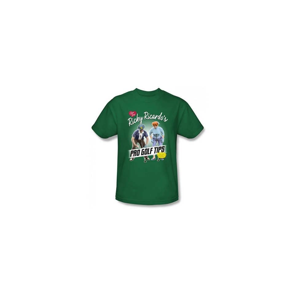 T Shirt   I Love Lucy   Pro Golf Tips Mens Kelly Green Size S