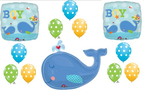 Little Squirt Baby Boy Shower balloons Decorations Supplies Whale