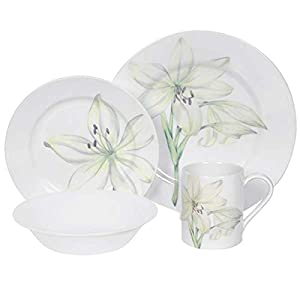 Corelle Impressions White Flower 16-Piece Dinnerware Set, Service for 4