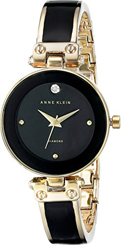 Anne Klein Women's AK/1980BKGB Diamond-Accented Dial Black and Gold-Tone Bangle Watch (Gold Black Dial Womens Watches compare prices)